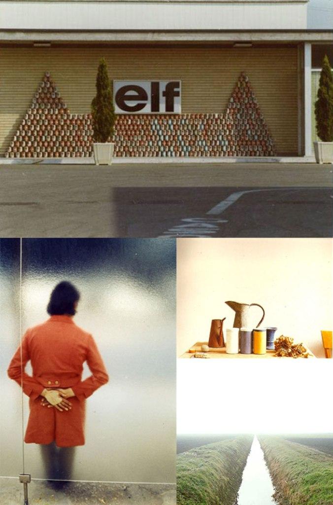 In senso orario: Modena (1973), negativo a colori, sviluppo cromogenico, 24x36 mm + Bologna (1989-1990), Studio di Giorgio Morandi + Roncocesi (1992) + Brest (1972), diapositiva a colori, sviluppo cromogenico, 24x36 mm