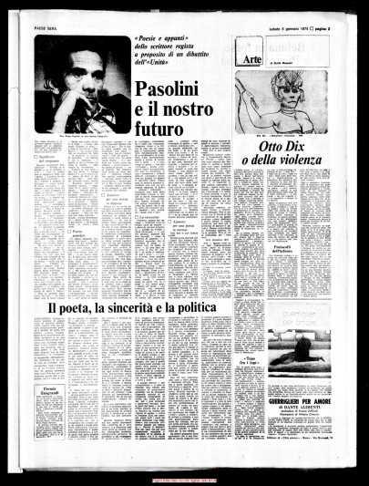 Cinque poesie, Gianni Rodari e pasolini, Paese Sera, 05-01-74