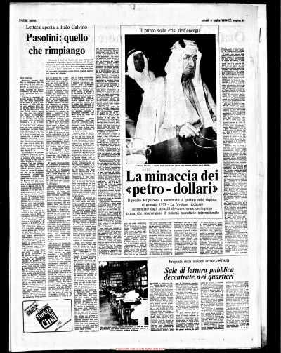 Pasolini, quello che rimpiango, lettera apareta a calvino, Paese Sera, 08-07-74