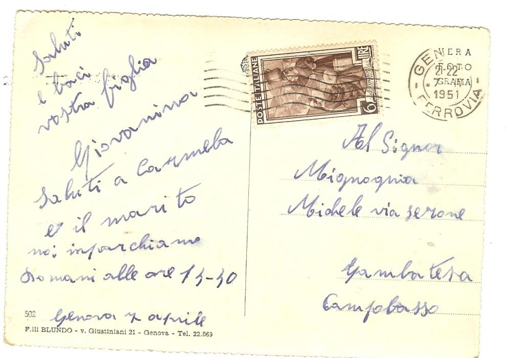 Testocartolina7aprile1951-imbarco