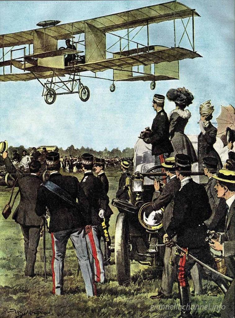 """1 giugno 1908: il primo volo di Léon Délagrange sui """"cieli"""" di Roma, ritratto dalla Domenica del Corriere"""