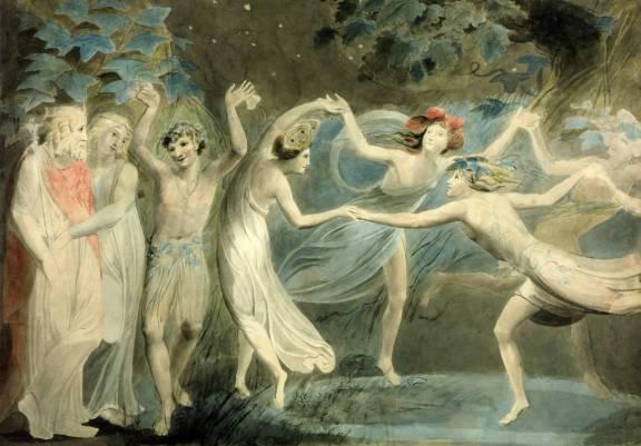 William Blake - Oberon, Titania and Puck with Fairies Dancing