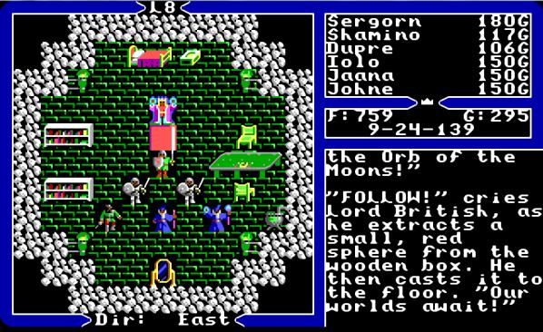 La schermata finale di Ultima5, col party schierato